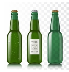 Green bottle with water drops vector image