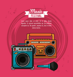 Poster music festival in magenta background with vector