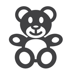 teddy bear solid icon plush toy and baby vector image vector image