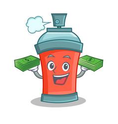 aerosol spray can character cartoon with money vector image vector image