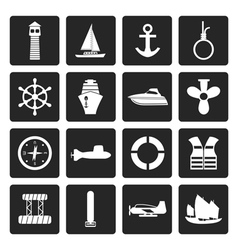 Black Simple Marine Sailing and Sea Icons vector image vector image