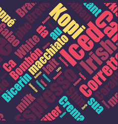 coffee pattern with coffee words seamless coffee vector image
