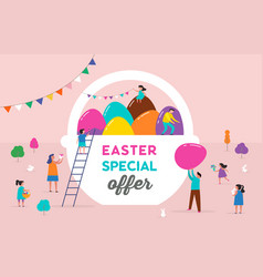 Happy easter sale promotion design and banner vector