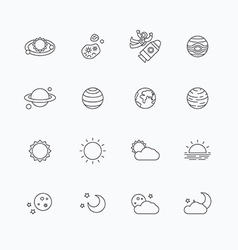 linear web icons set - space sun and moon vector image