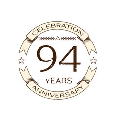 ninety four years anniversary celebration logo vector image vector image