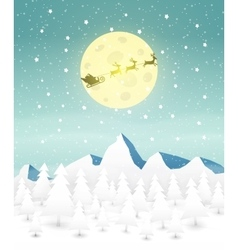 Santas Sleigh at forest vector image