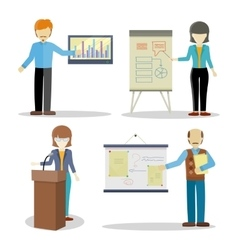 Set of Business Coaches Characters in Flat Design vector image