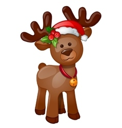 Toy isolated reindeer with Christmas hat vector image vector image