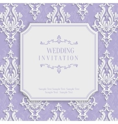 Violet 3d Vintage Invitation Card with vector image vector image