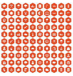 100 lumberjack icons hexagon orange vector image