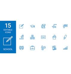 15 school icons vector