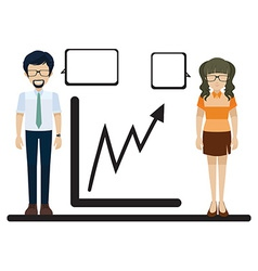 A line graph with a man and a woman vector image