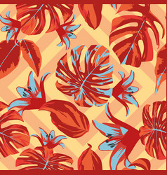 abstract red leaves seamless pattern geometric vector image