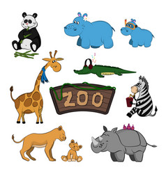 Animals of zoo set of cute images vector