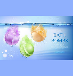 bath bombs in water spa cosmetics beauty product vector image