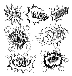 Boom set comic book explosion vector