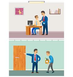 Boss discharging employee unemployed fired man vector