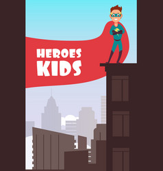 Boy superhero with red cloak over the city vector