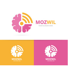 brain and wifi logo combination education vector image