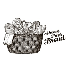Bread bakery hand drawn sketch of food vector