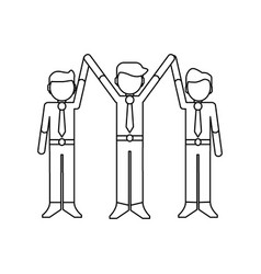 businessmen successful teamwork black and white vector image