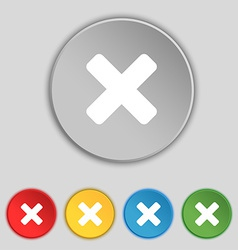 Cancel multiplication icon sign Symbol on five vector