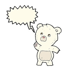 Cartoon curious polar bear with speech bubble vector