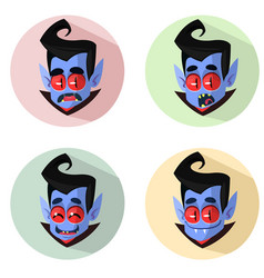 cartoon vampire heads icons vector image