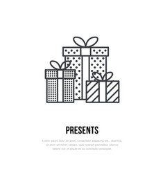 Christmas gifts new year presents packaging flat vector