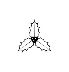 christmas holly berries line icon black vector image