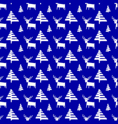 Christmas seamless pattern with deers and pine vector