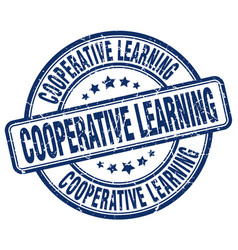 Cooperative learning blue grunge stamp vector