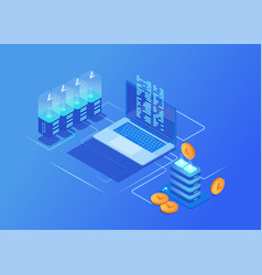 Crypto currency mining farm server data center vector