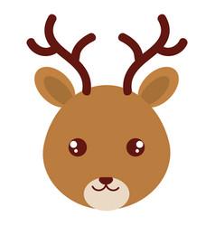 Cute and tender reindeer head character vector