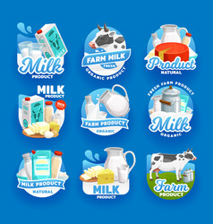Dairy farm products milk butter and cheese vector