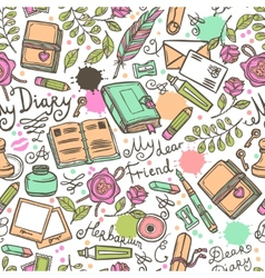 Diary Seamless Pattern vector