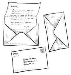 Doodle mail envelope letter vector