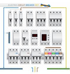 Electric circuit breaker set vector