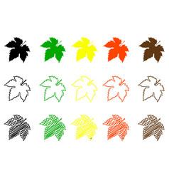 Fig leaf color set vector