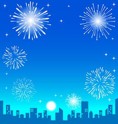 Fireworks over the night city vector