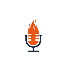 Flame podcast logo icon design vector