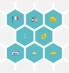 Flat icons restaurant flag cheddar and other vector
