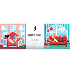 flat relaxation and leisure time template vector image