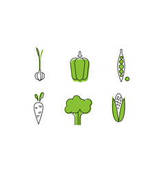 fresh vegetables line icons set garlic sweet vector image