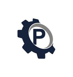 Gear logo letter p vector