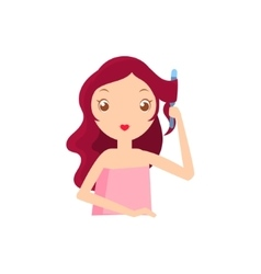 Girl With Fluting Iron vector