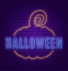 happy halloween party signboard on brick wall vector image