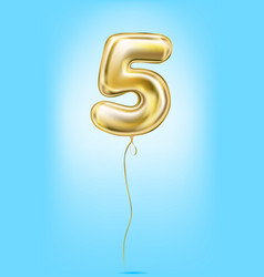 high quality image of gold balloons digit 5 five vector image