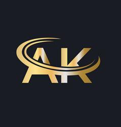 Initial gold ak letter logo design ak logo design vector