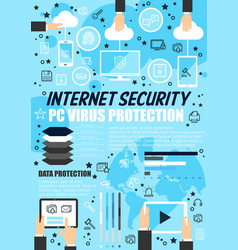 internet security data protection technology vector image
